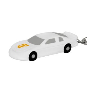 DLK Nascar/Stock Car Style Stress Reliever Key Chain - White